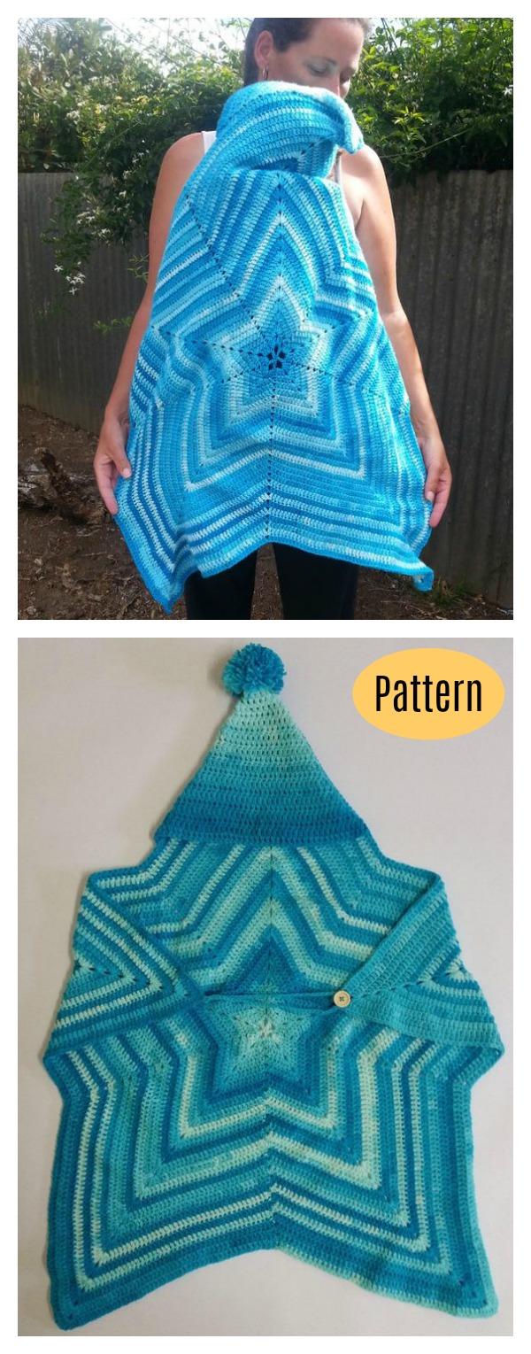 Baby-wearing Hooded Star Blanket Crochet Pattern