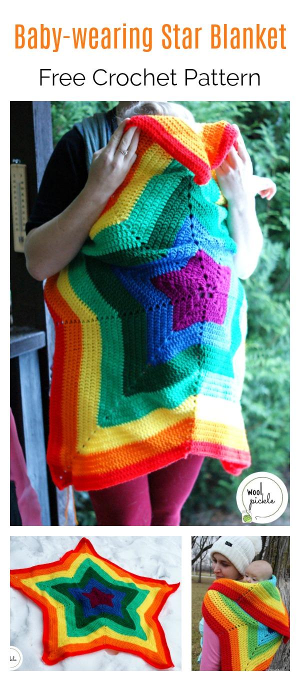 Baby-wearing Star Blanket Free Crochet Pattern