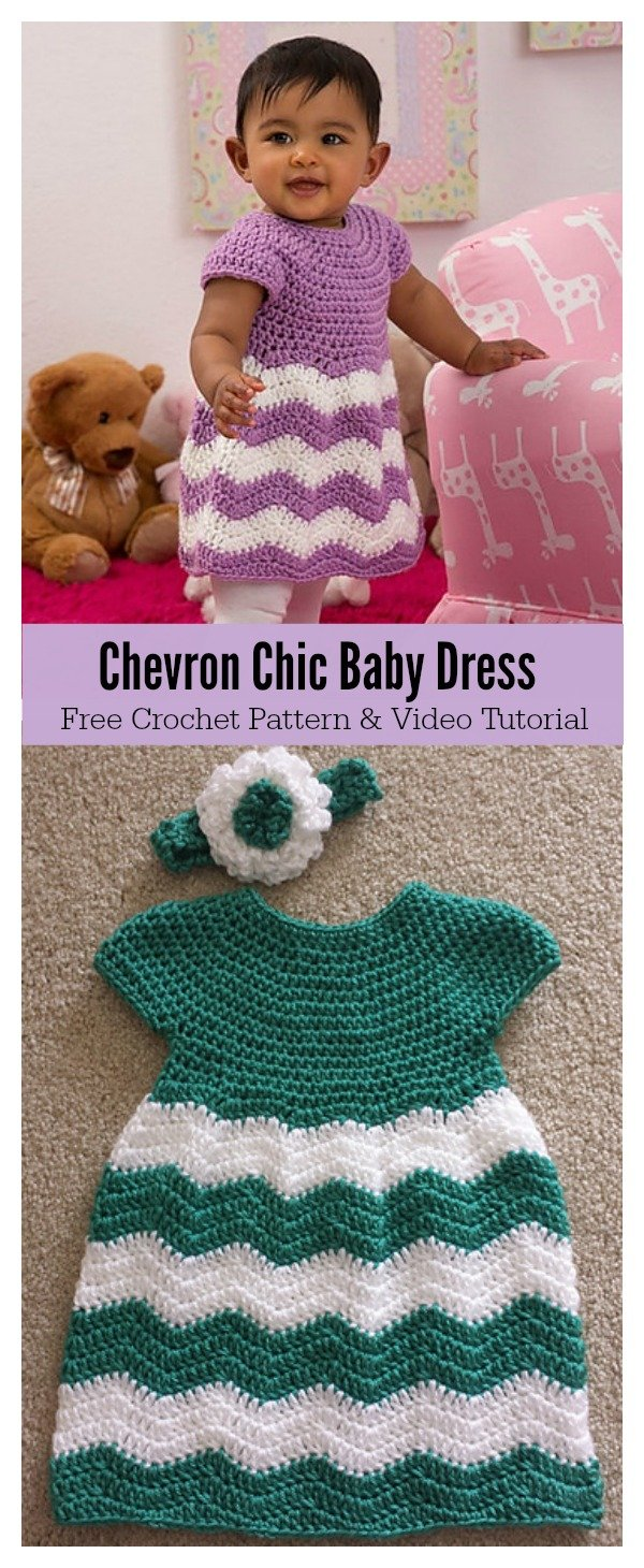 Chevron Chic Baby Dress Free Crochet Pattern and Video Tutorial