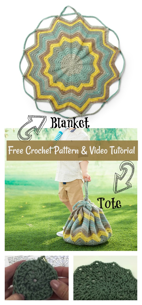 Convertible Blanket Tote Bag Free Crochet Pattern and Video Tutorial