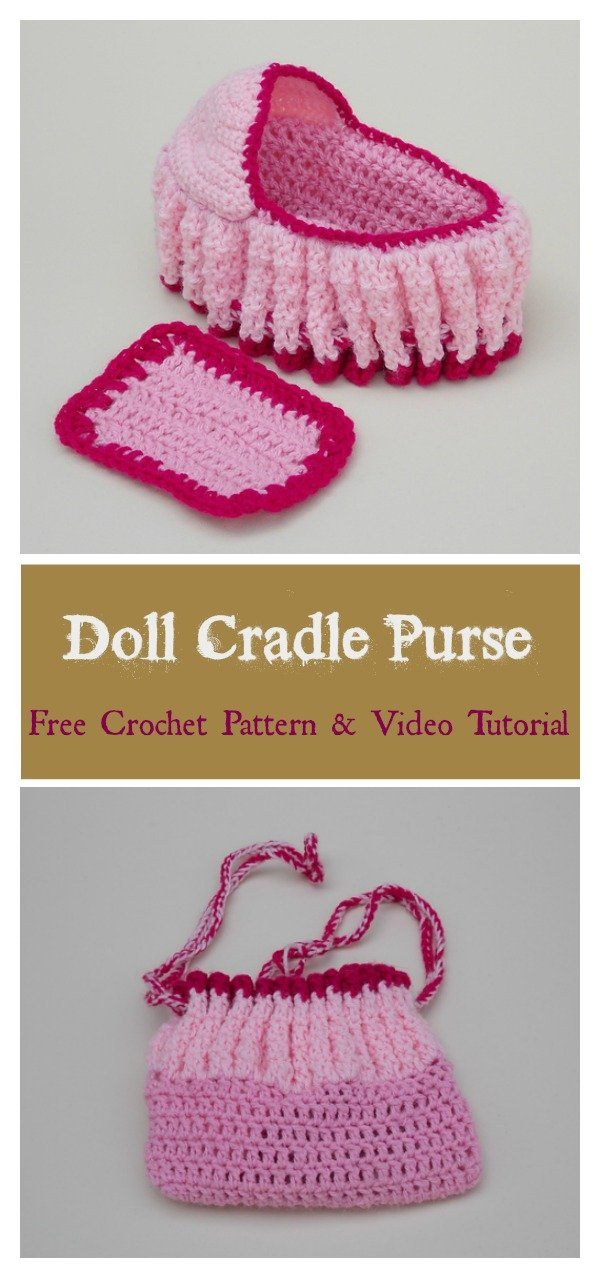 Doll Cradle Purse Free Crochet Pattern and Video Tutorial
