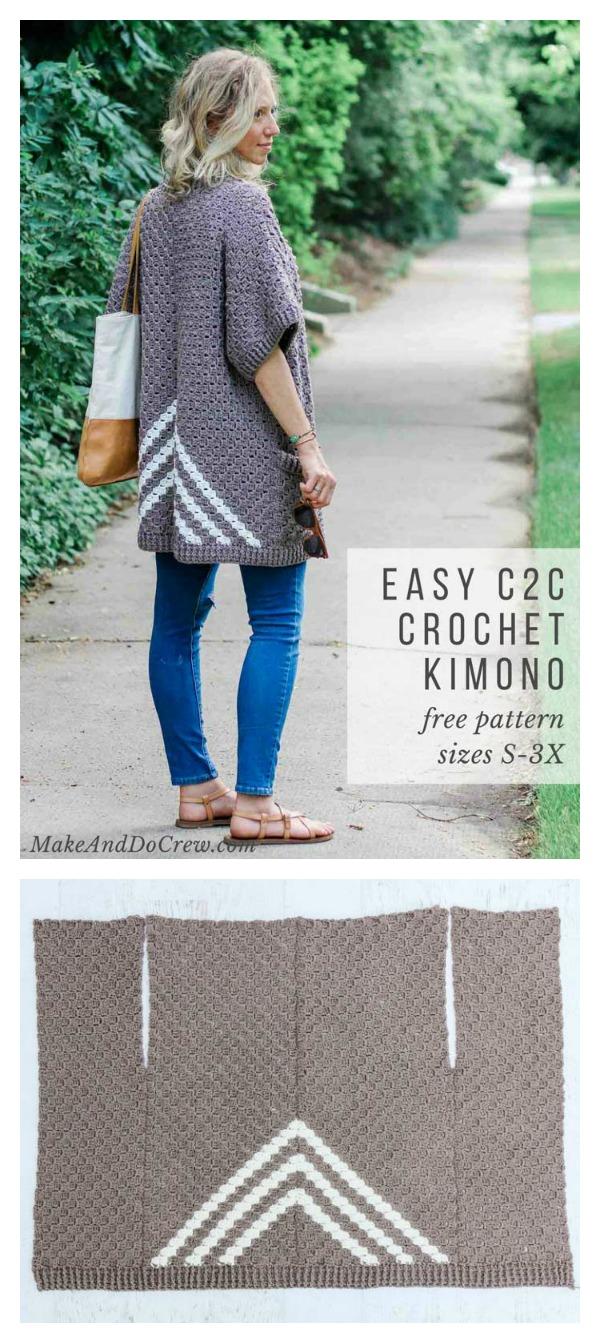 Easy C2C Kimono Sweater Free Crochet Pattern