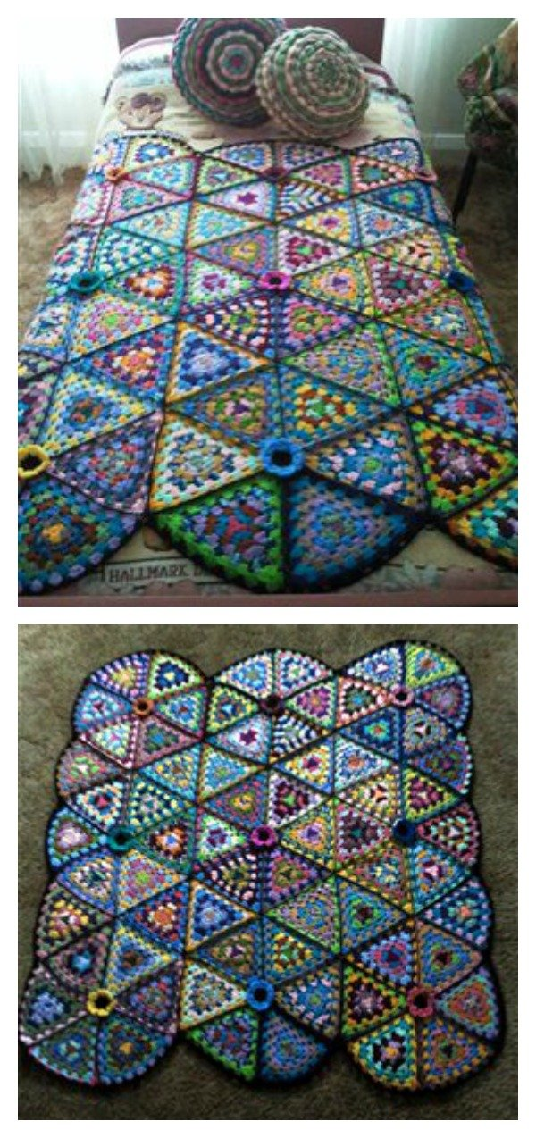 Granny Triangle Afghan Blanket Free Crochet Pattern