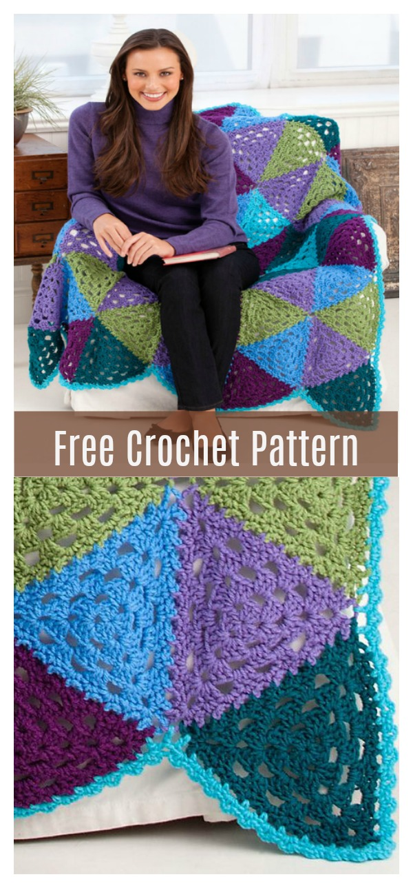 Granny Triangles Throw Free Crochet Pattern