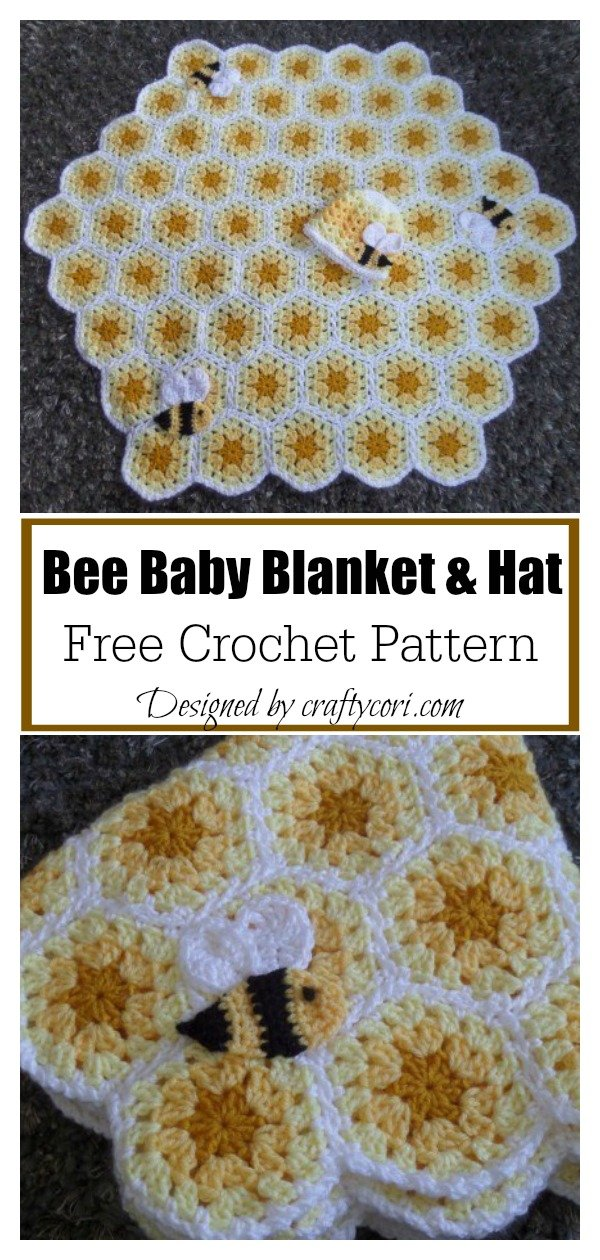 Honeycomb Bee Baby Blanket and Hat Free Crochet Pattern