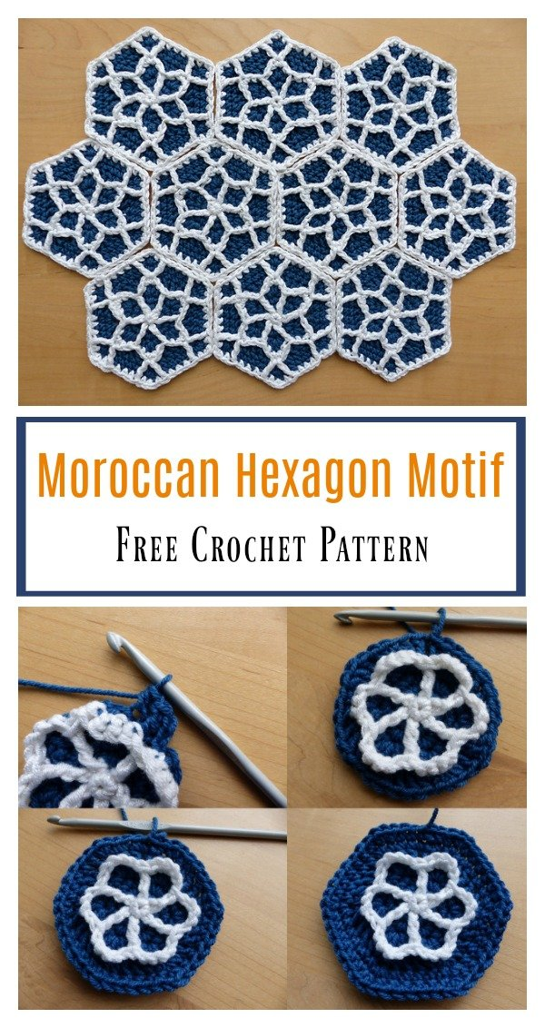 Moroccan Hexagon Motif Free Crochet Pattern