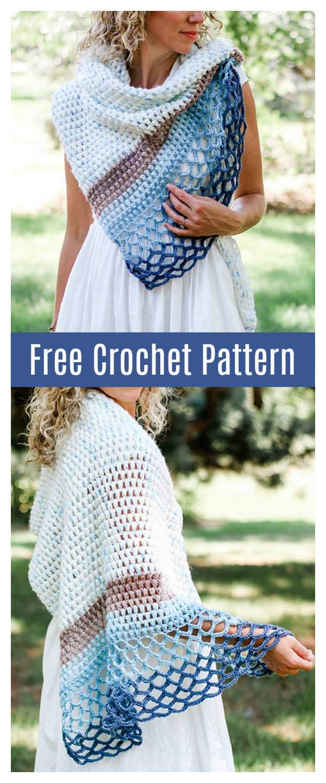 Rising Tide Shawl Free Crochet Pattern