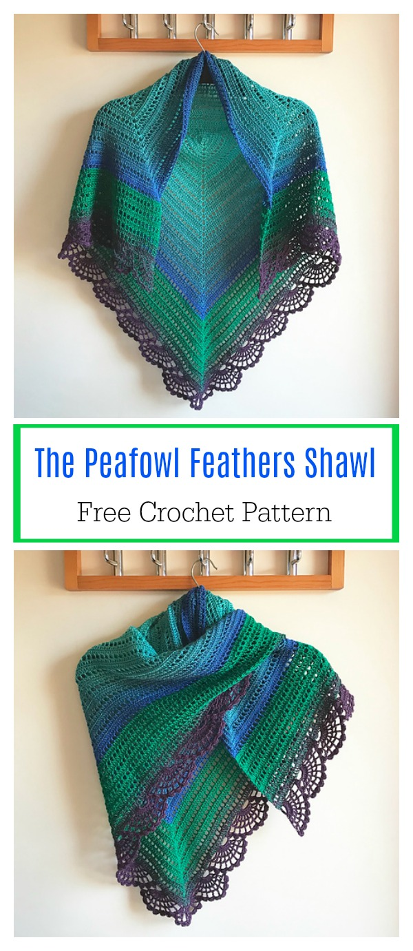 The Peafowl Feathers Shawl Free Crochet Pattern