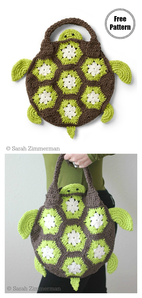 African Flower Motif Sea Turtle Tote Bag Free Crochet Pattern