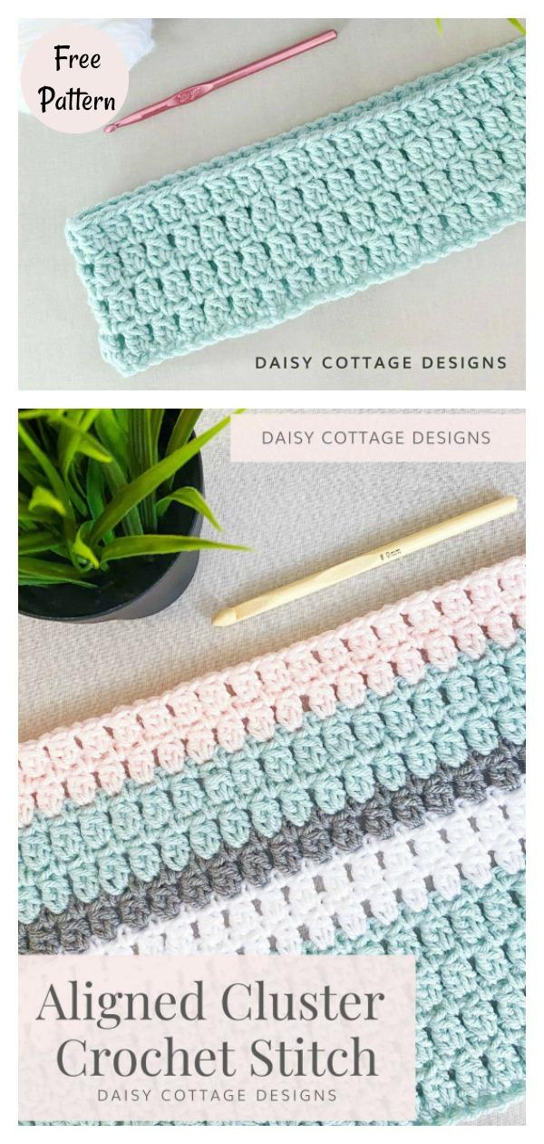 Aligned Cluster Stitch Blanket Free Crochet Pattern