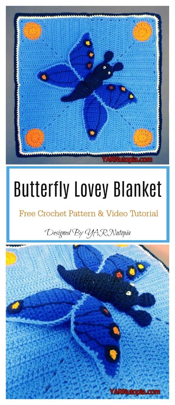 Butterfly Lovey Blanket Free Crochet Pattern and Video Tutorial