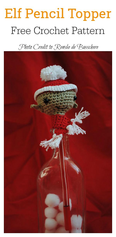 Christmas Elf Pencil Topper Free Crochet Pattern