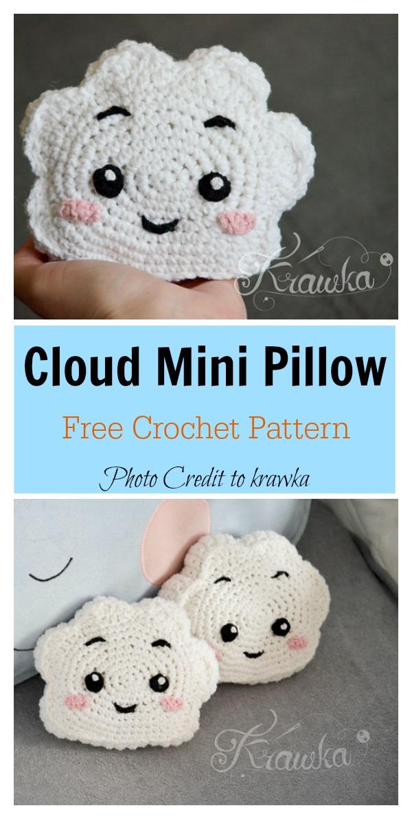 Cute Cloud Mini Pillow Free Crochet Pattern