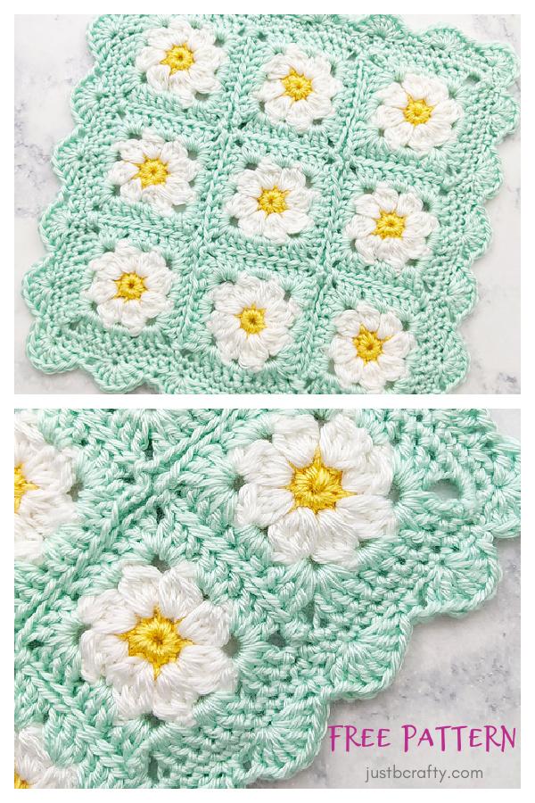 Dainty Daisy Granny Square Blanket Free Crochet Pattern