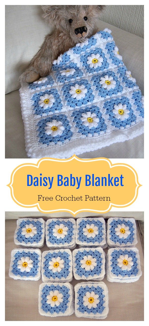graphic relating to Free Printable Crochet Granny Square Patterns known as Daisy Granny Sq. Boy or girl Blanket Cost-free Crochet Routine