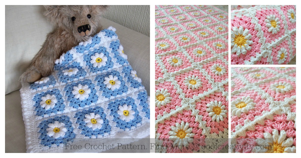 image about Free Printable Crochet Granny Square Patterns identify Daisy Granny Sq. Youngster Blanket Free of charge Crochet Habit
