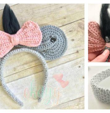 Eeyore Mouse Ears Headband Free Crochet Pattern