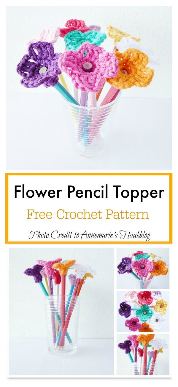 Pencil Toppers Free Crochet Pattern