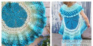 Girl's Flower Circle Vest Free Crochet Pattern