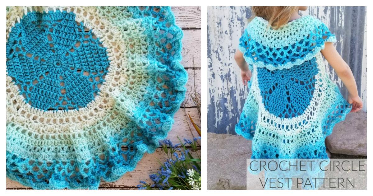 Girls Flower Circle Vest Free Crochet Pattern