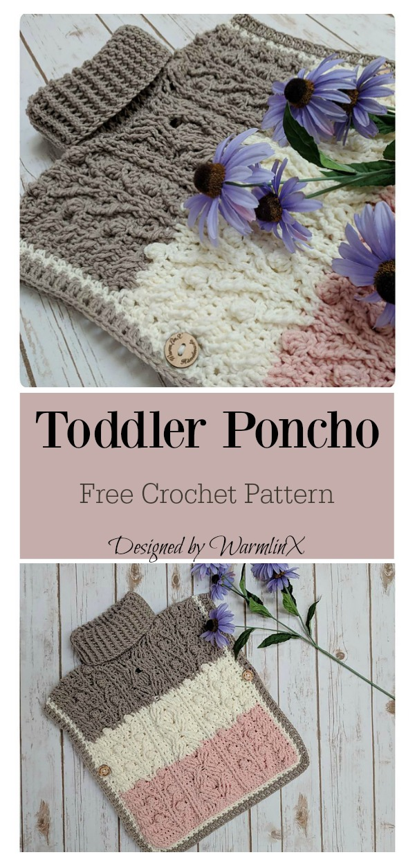 Hugs And Kisses Toddler Poncho Free Crochet Pattern