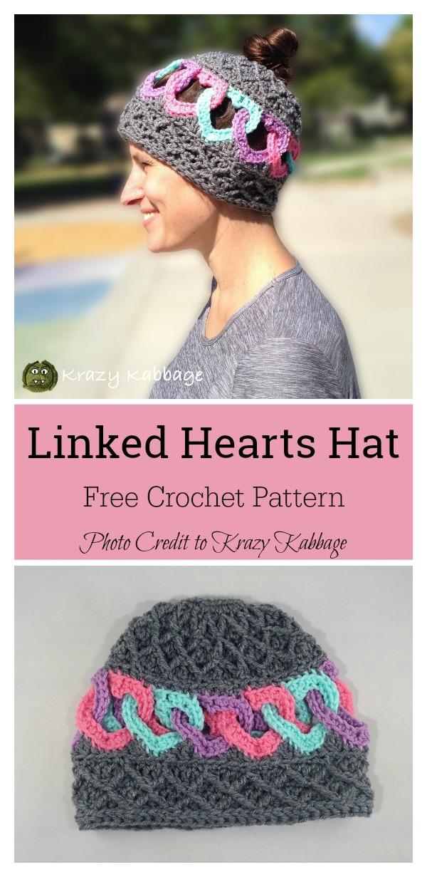 Linked Hearts and Diamonds Messy Bun Beanie Hat Free Crochet Pattern