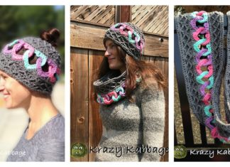 Linked Hearts Hat and Scarf Free Crochet Pattern