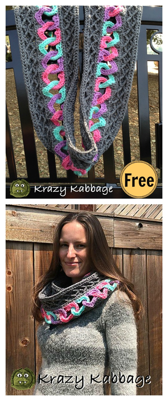 Linked Hearts and Diamonds Infinity Scarf Free Crochet Pattern
