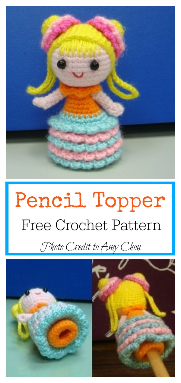 Little Girl with Bun Hair Pencil Topper Free Crochet Pattern