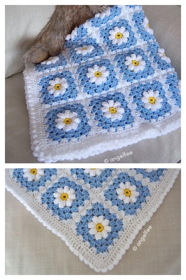 Little Popcorn Daisy Blanket Free Crochet Pattern