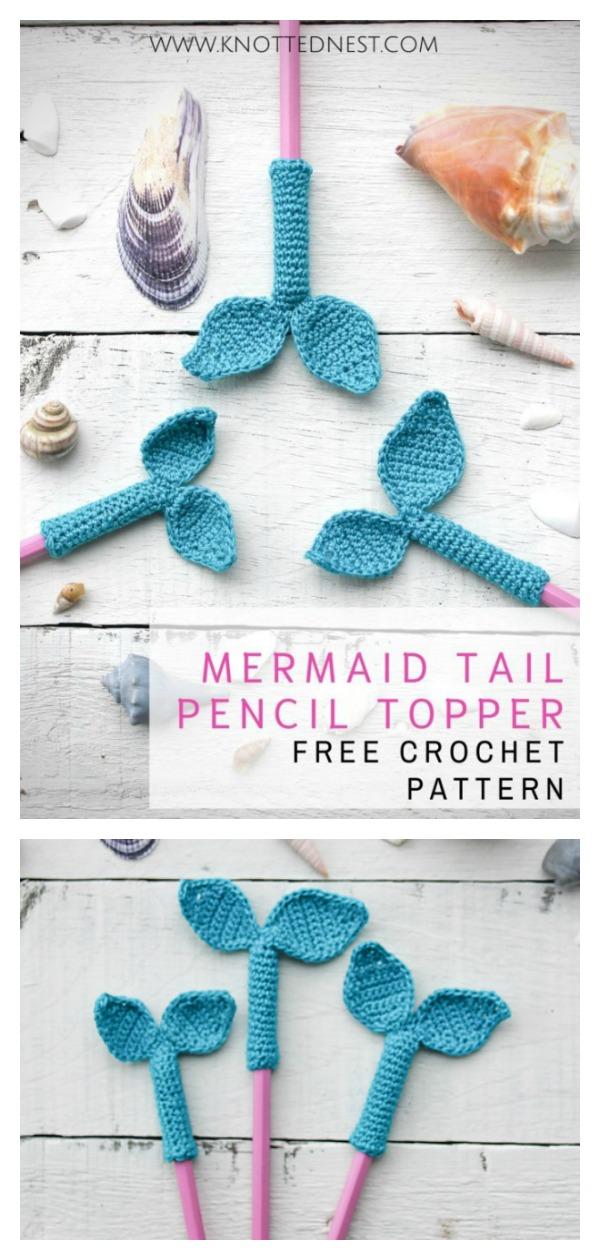 Mermaid Pencil Topper Free Crochet Pattern