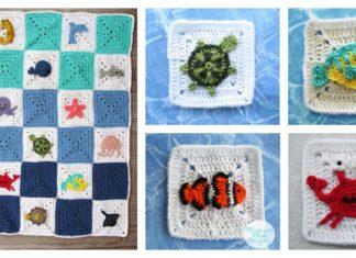 Ocean Granny Square Afghan Baby Blanket Free Crochet Pattern