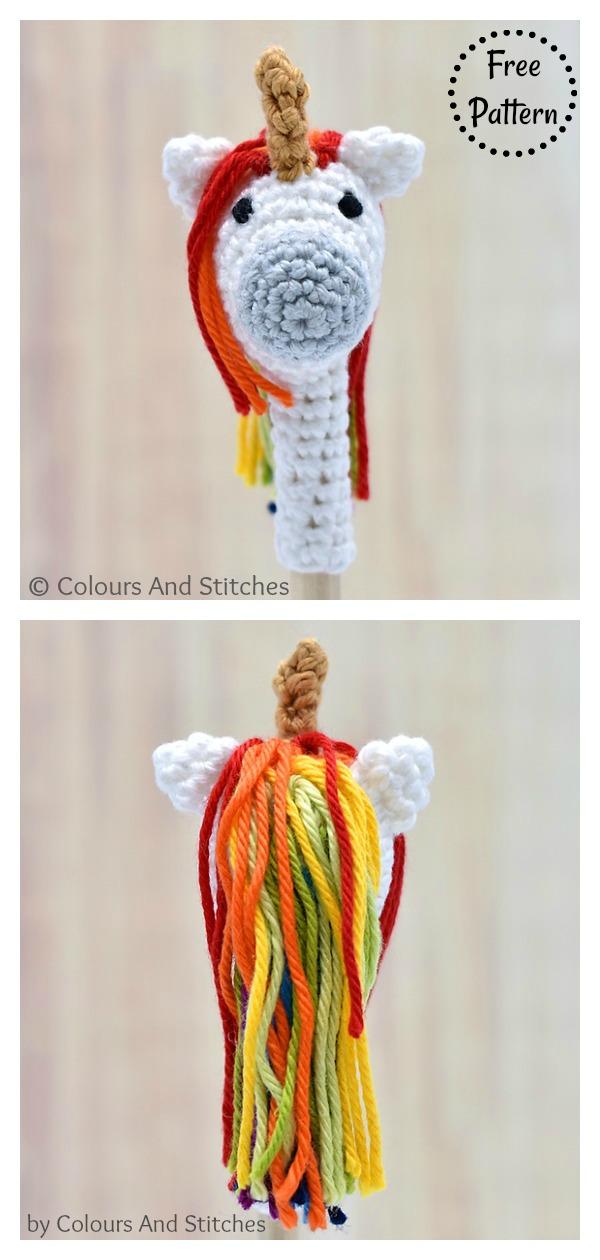 Pencil topper unicorn Free Crochet Pattern