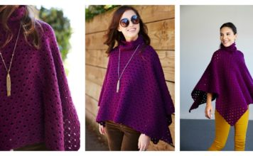 Perfectly Cowl Neck Poncho Free Crochet Pattern and Video Tutorial