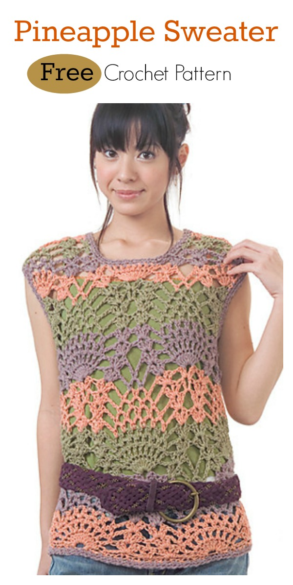 Pineapple Sweater Free Crochet Pattern