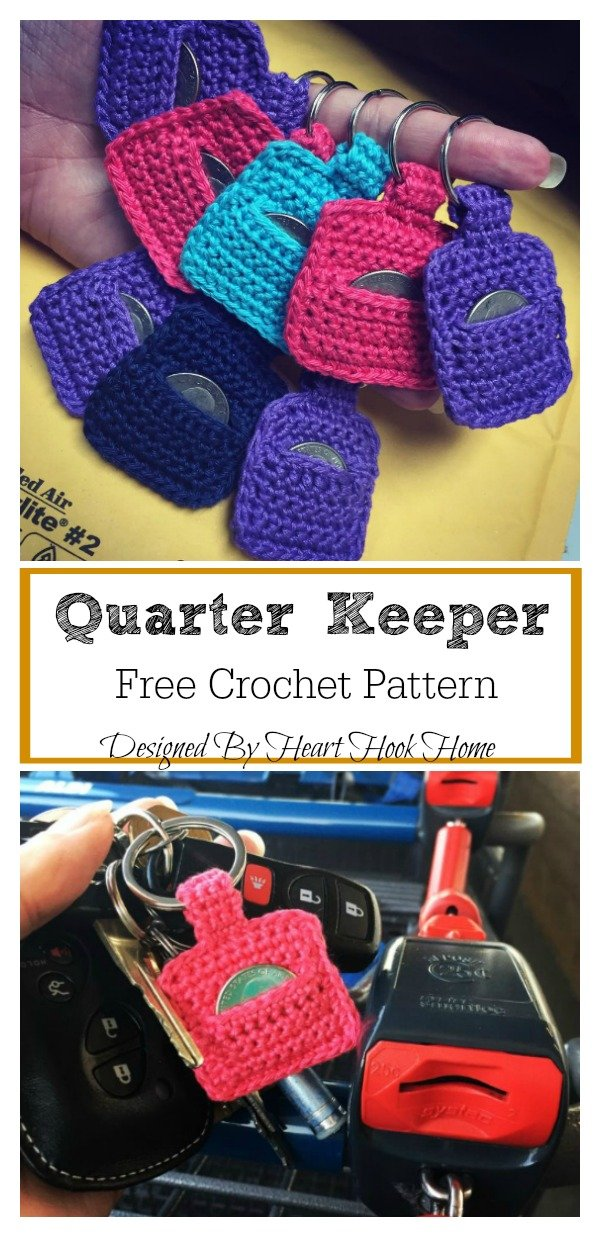 Quarter Keeper Keychain Free Crochet Pattern