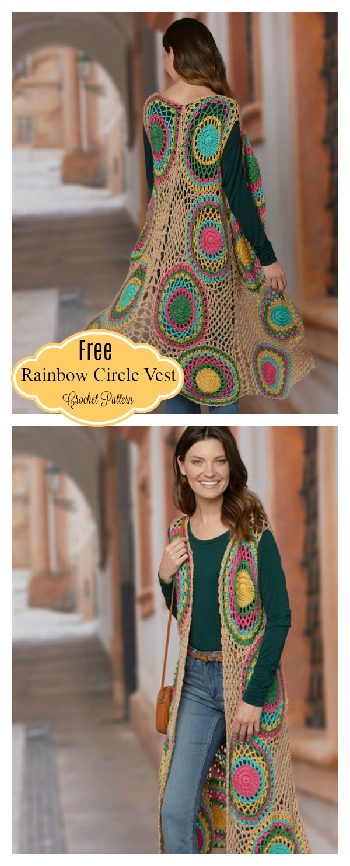 Rainbow Circle Long Vest Free Crochet Pattern