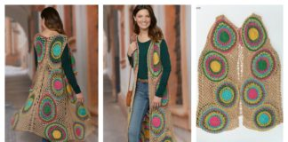 Rainbow Circle Long Vest Free Crochet Pattern