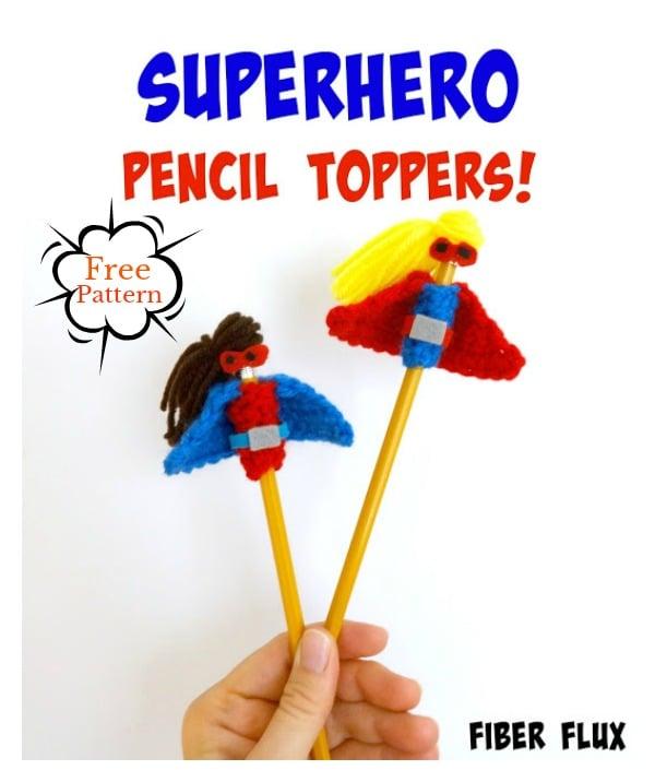 Superhero Pencil Topper Free Crochet Pattern