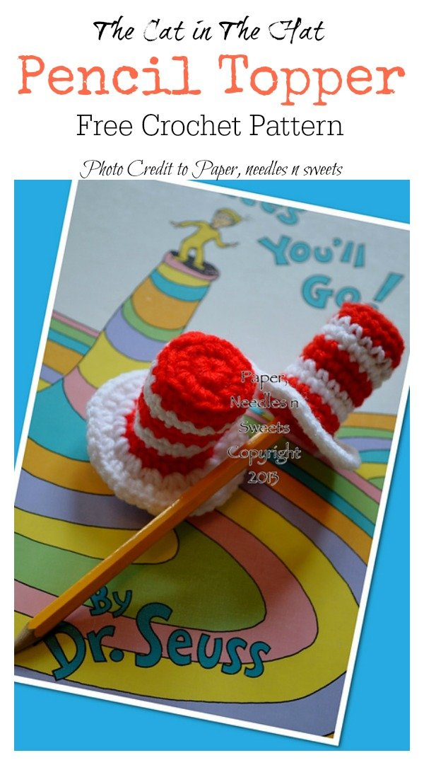 The Cat in The Hat Pencil Topper Free Crochet Pattern