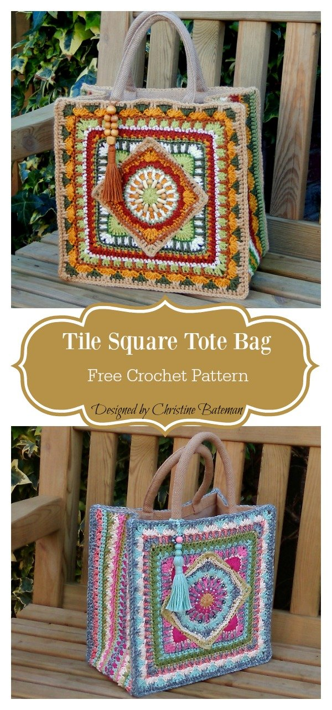 Tile Square Tote Bag Free Crochet Pattern