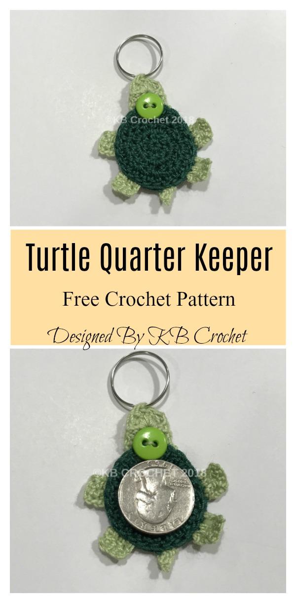 Turtle Quarter Keeper Keychain Free Crochet Pattern