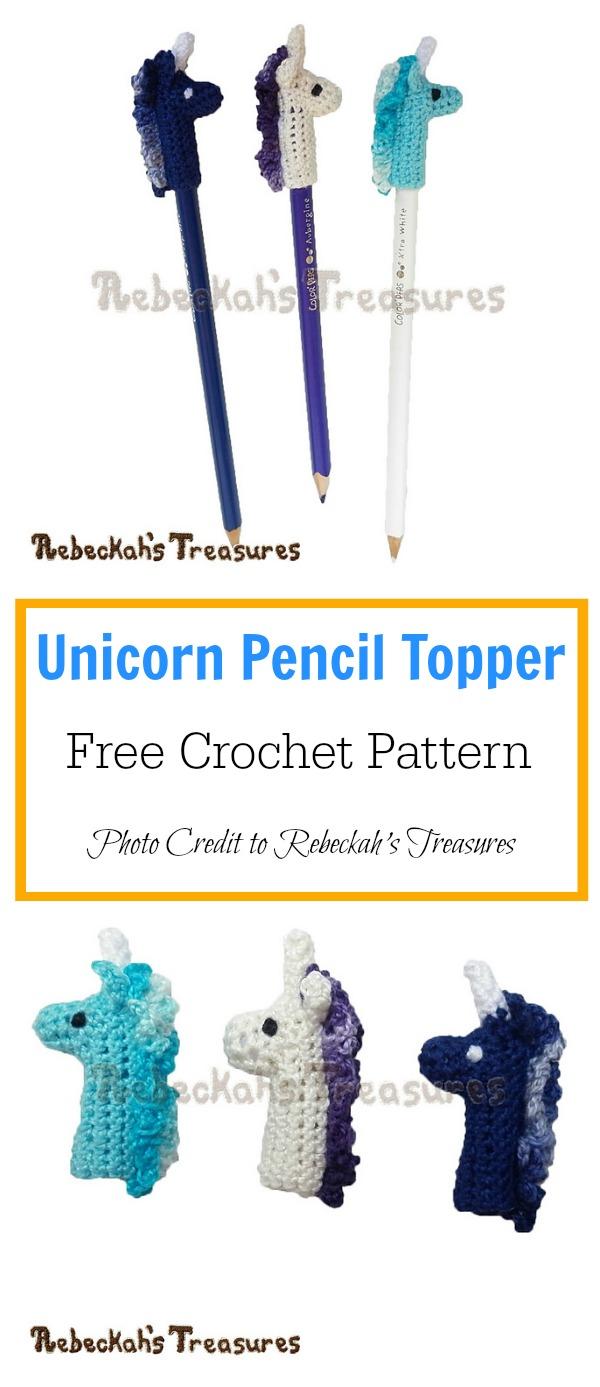Unicorn Pencil Topper Free Crochet Pattern