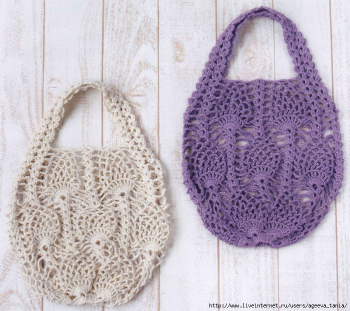 Pineapple Stitch Bag Free Crochet Diagram