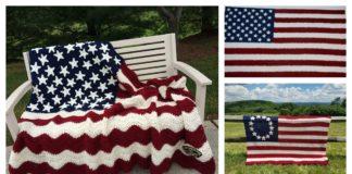 American Flag Blanket Free Crochet Pattern