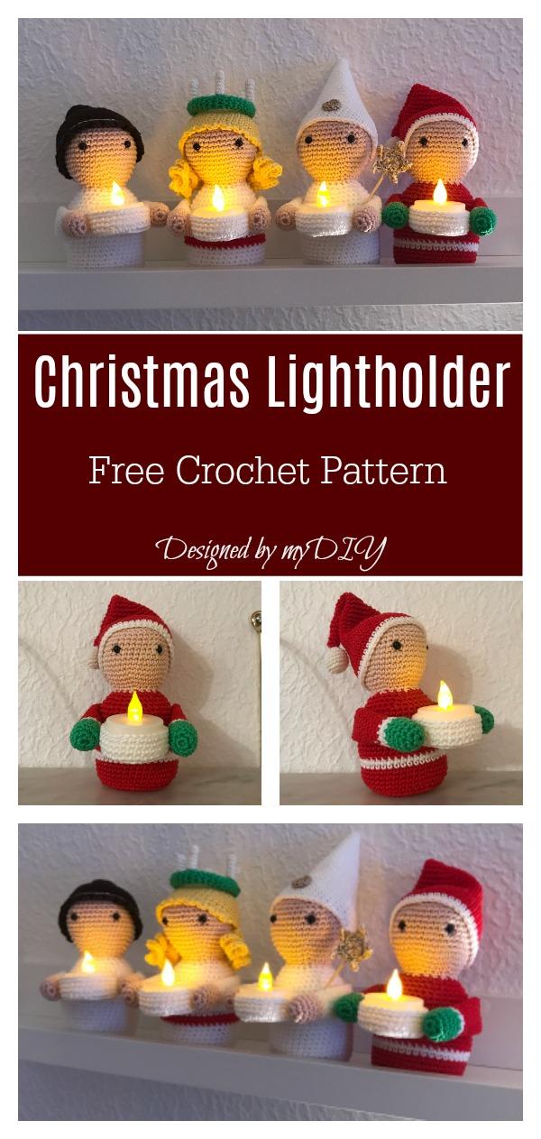 Christmas LED Tea Light Holder Free Crochet Pattern