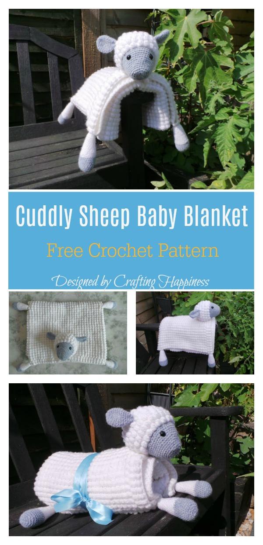 Cuddly Sheep Baby Toy Pram Blanket Free Crochet Pattern