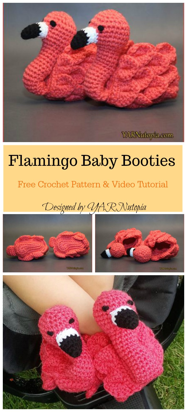 Cute Flamingo Baby Booties Free Crochet Pattern and Video Tutorial