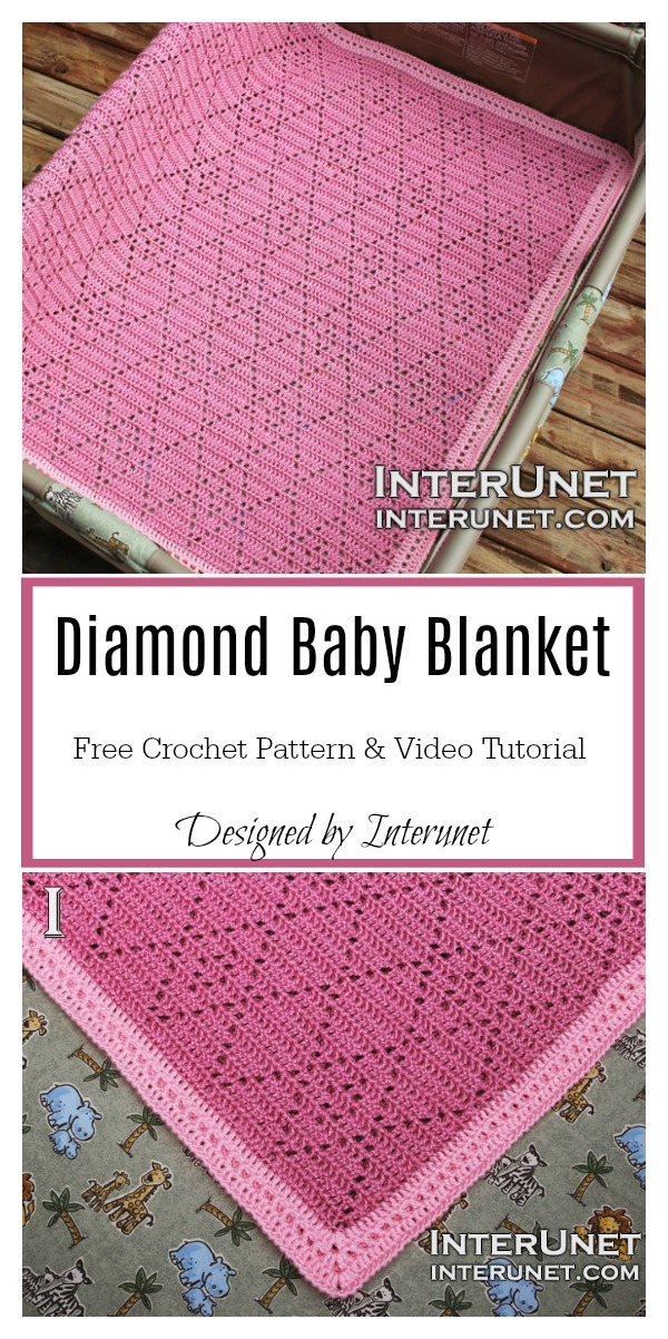 Diamond Baby Blanket Free Crochet Pattern and Video Tutorial