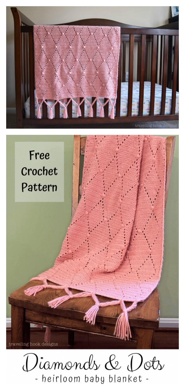Diamonds and Dots Heirloom Baby Blanket Free Crochet Pattern